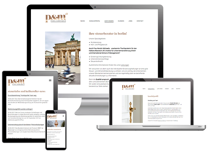 Screenshots der Website von Pudell und Michaelis Steuerberatungsgesellschaft mbH
