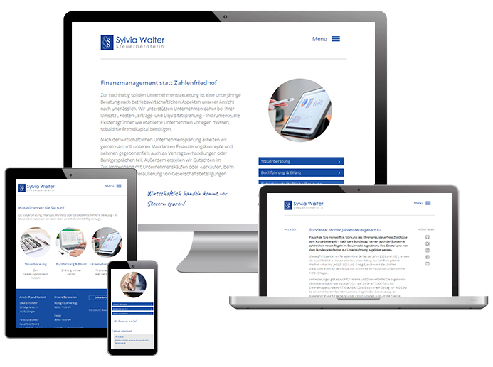 Screenshots der Website von Steuerbüro Walter